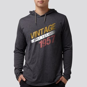 Vintage 1957 Birth Year Mens Hooded Shirt